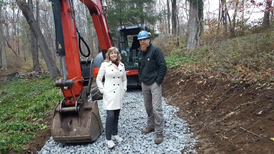 Pat Sesto, president of Friends of the NRVT, and Josh Ryan, Timber & Stone trail builders. Photo: Contributed Photo