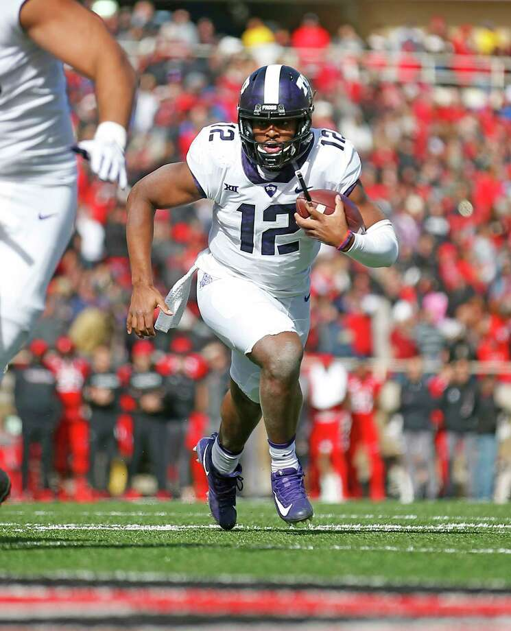 TCU's Shawn Robinson (12) runs down the field during the first half of an NCAA college football game against Texas Tech, Saturday, Nov. 18, 2017, in Lubbock, Texas. (AP Photo/Brad Tollefson) Photo: Brad Tollefson, Associated Press / Copyright 2017 The Associated Press. All rights reserved.