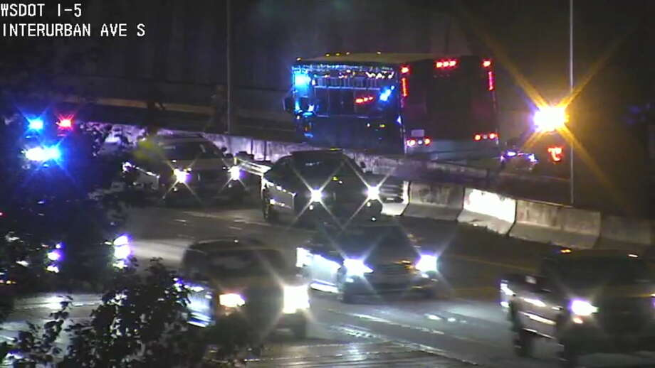 A night on a party bus turned into a trip to jail for two men in Tukwila Friday night. The State Patrol said the bus broke down in the southbound Interstate 5 HOV lane, near state Route 599. (Photo: WSDOT) Photo: KOMO News