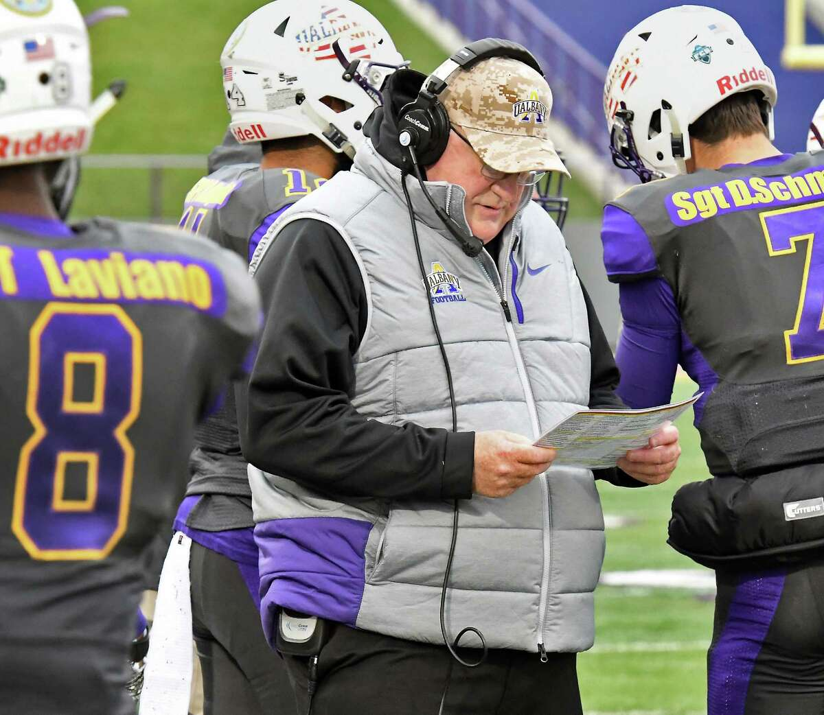 UAlbany head coach Greg Gattuso, center, on the sidelines during their Colonial Athletic Association game against New Hampshire Saturday Nov. 18, 2017 in Albany, NY. (John Carl D'Annibale / Times Union)