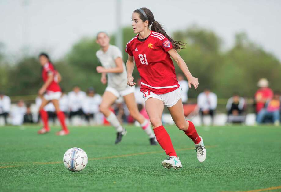Seven Lakes graduate and St. Thomas senior Siobhan Higgins earned all-Red River Athletic Conference honors while leading the Celts to their first conference championship. Higgins had eight goals and seven assists entering the NAIA national tournament. Photo: University Of St. Thomas Athletics