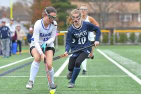 CIAC Class L Field Hockey Final game action between the Staples Wreckers and the Darien Blue Wave played at Weathersfield High School on Saturday November 18, 2017 in Weathersfield, Connecticut.