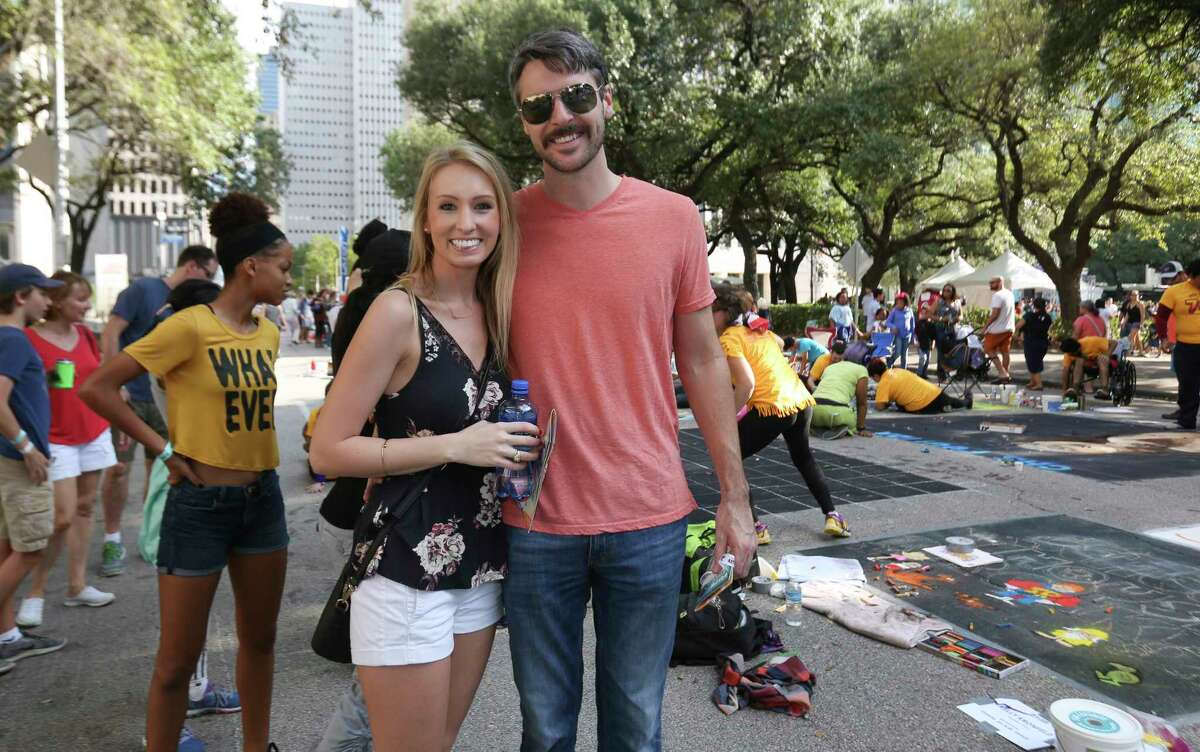 People pose for a photo at the 12th Annual Via Colori at Hermann Square at City Hall on Saturday, Nov. 18, 2017, in Houston.