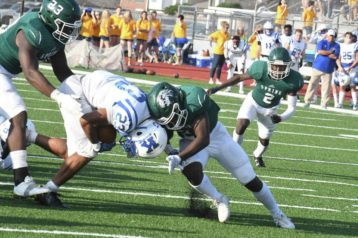 Klein's D'Anthony Simms runs for a first down on Saturday. The Bearkats edged old district rival Spring 10-7 in a defensive slugfest at George Stadium in the Class 6A Division I Region II playoffs. Klein (7-3), which was fourth in 15-6A after dropping three of its last five, including 27-14 to Stratford last week, will face Pflugerville Hendrickson (8-3) in the area round at 1 p.m. Friday in Brenham.
