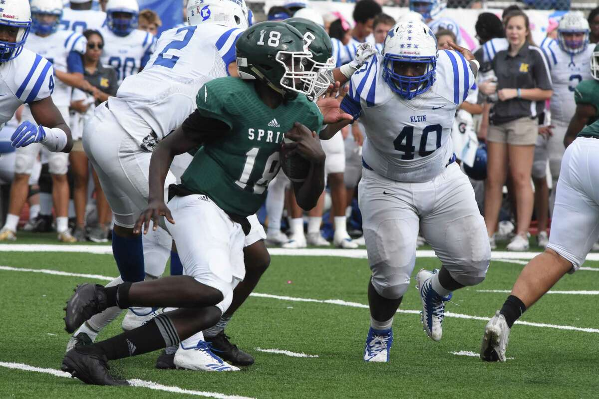 Spring quarterback Clifton McDowell rushed for more 100 yards on Saturday against Klein. The Bearkats edged old district rival Spring 10-7 in a defensive slugfest at George Stadium in the Class 6A Division I Region II playoffs. Klein (7-3), which was fourth in 15-6A after dropping three of its last five, including 27-14 to Stratford last week, will face Pflugerville Hendrickson (8-3) in the area round at 1 p.m. Friday in Brenham.