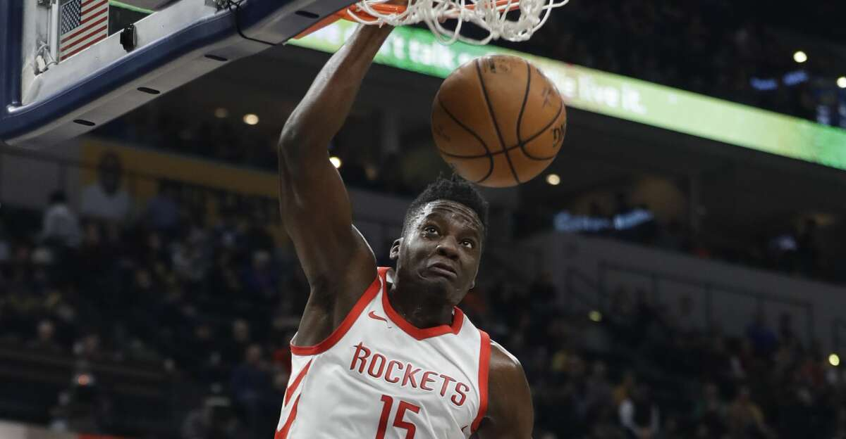 Houston Rockets' Clint Capela (15) dunks during the first half of an NBA basketball game against the Indiana Pacers, Sunday, Nov. 12, 2017, in Indianapolis. (AP Photo/Darron Cummings)