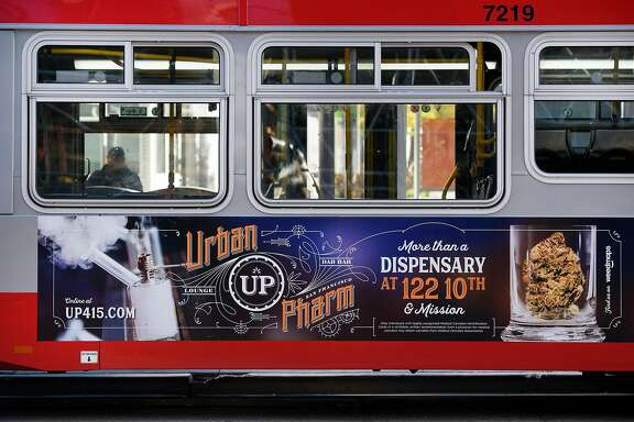 An advertisement for Urban Pharm marijuana dispensary is seen on the side of a MUNI bus in downtown San Francisco, CA, on Friday November 17, 2017.