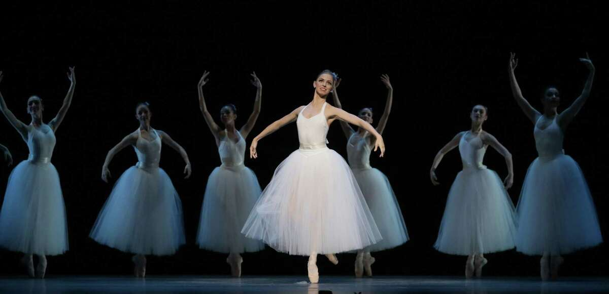 """Soloist Allison Miller and artists of Houston Ballet ina scene from Stanton Welch's """"The Ladies,"""" one of the beautiful works the company performed during its Margaret Alkek Williams Jubilee of Dance on Nov. 15 at Hobby Center."""