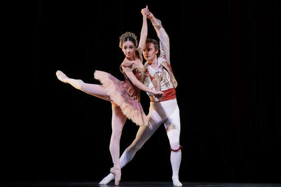 "Soloist Monica Gomez and principal Jared Matthews brought bravura energy to a pas de deux from ""Don Quixote"" during Houston Ballet's Margaret Alkek Williams Jubilee of Dance on Nov. 15 at Hobby Center."