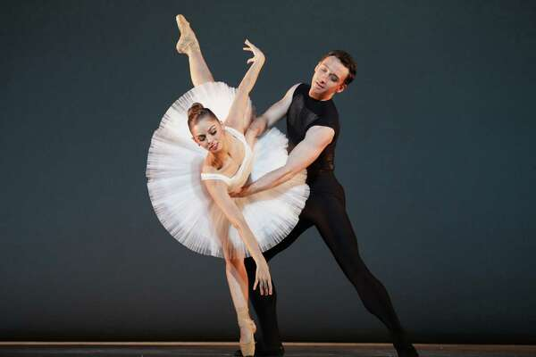 """Houston Ballet soloist Allison Miller and demi-soloist Aaron Sharratt danced beautifully in Stanton Welch's fast-paced """"Punctilious"""" during the company's Jubilee of Dance on Nov. 15 at Hobby Center."""
