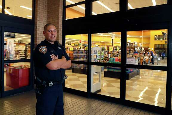 Harris County Sheriff's Deputy Armando Aviles, Jr., who started a relief drive for Puerto Rico, last month, at Kroger at 6160 Highway 6, photographed on Monday, Nov. 13, 2017, in Houston. ( Karen Warren / Houston Chronicle )