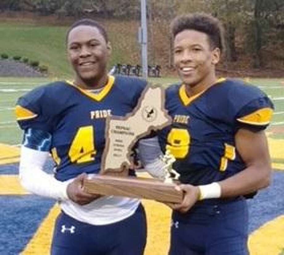 Trinity-Pawling football players Marquese Ward-Mourning, left, and Donte Williams of Danbury. Photo: Contributed Photo / Contributed Photo