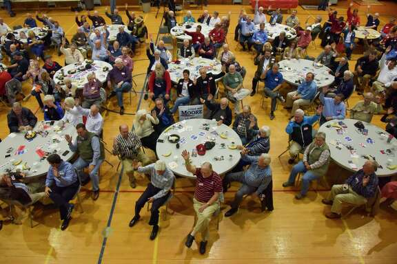 Republicans in Huntsville, Alabama, gather Saturday for a monthly party breakfast, above, at a Methodist church to suppport Roy Moore. Must credit: Washington Post photo by Jahi Chikwendiu