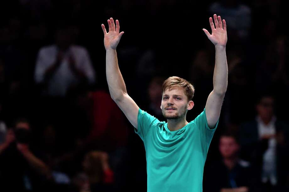 Belgium's David Goffin celebrates beating Switzerland's Roger Federer during their men's singles semi-final match on day seven of the ATP World Tour Finals tennis tournament at the O2 Arena in London on November 18, 2017. David Goffin won 2-6, 6-3, 6-4.  / AFP PHOTO / Glyn KIRKGLYN KIRK/AFP/Getty Images Photo: GLYN KIRK / AFP or licensors