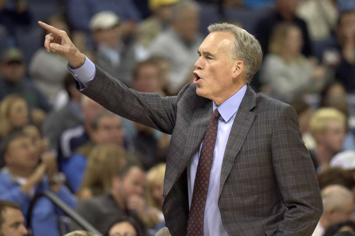 Houston Rockets coach Mike D'Antoni calls to players during the first half of an NBA basketball game against the Memphis Grizzlies on Saturday, Nov. 18, 2017, in Memphis, Tenn. (AP Photo/Brandon Dill)