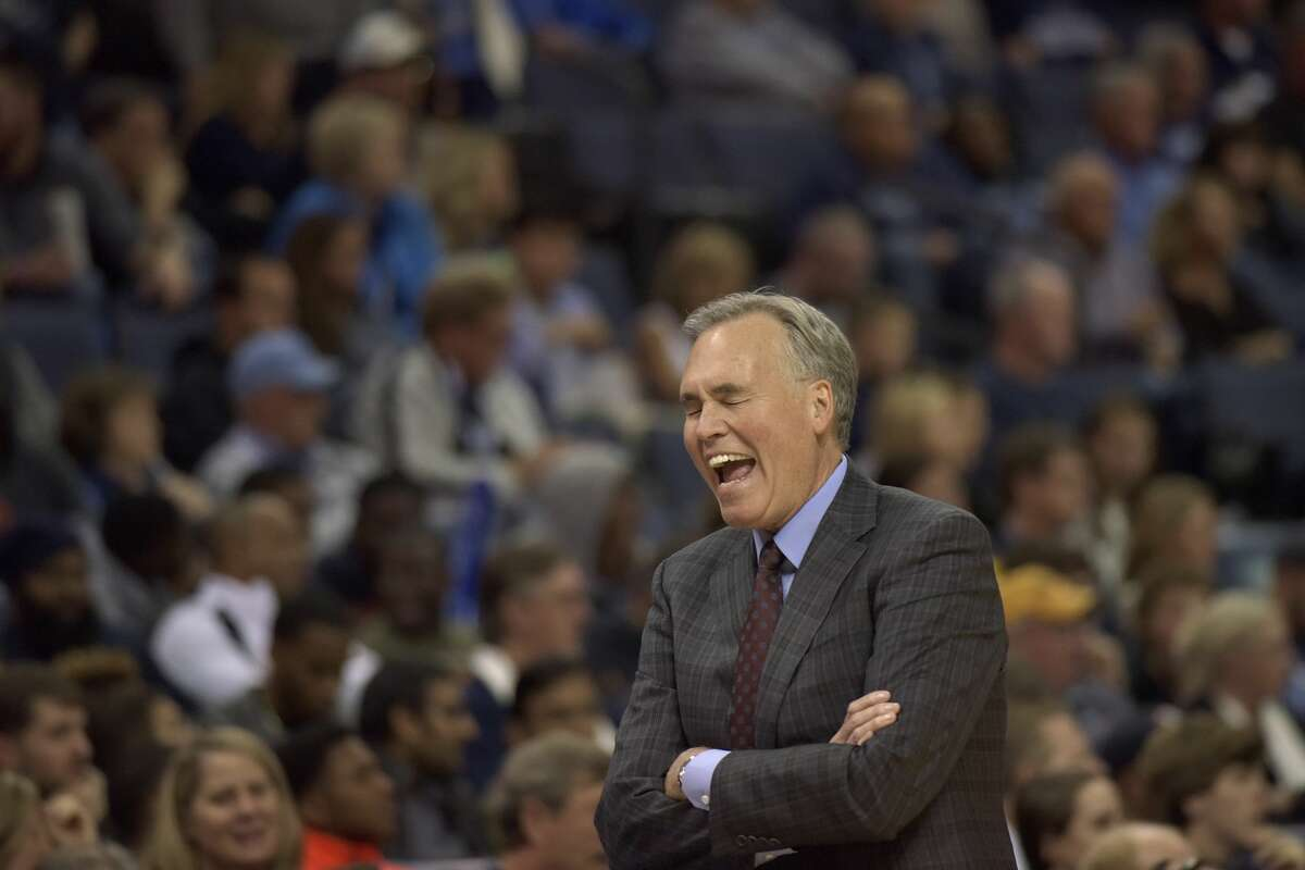 Houston Rockets coach Mike D'Antoni reacts on the sideline during the first half of the team's NBA basketball game against the Memphis Grizzlies Saturday, Nov. 18, 2017, in Memphis, Tenn. (AP Photo/Brandon Dill)