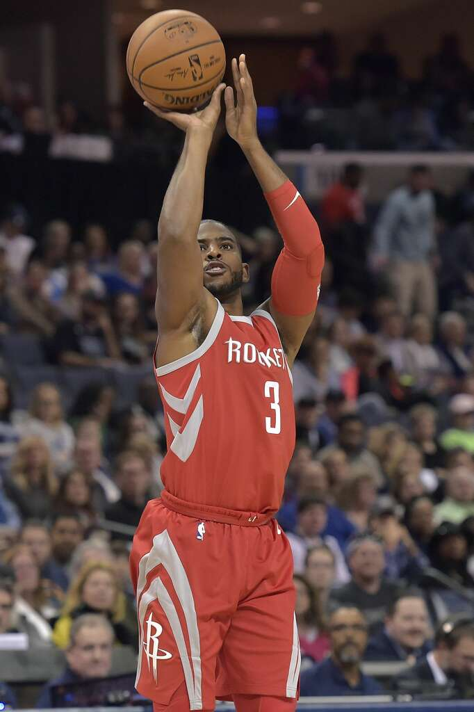 Houston Rockets guard Chris Paul (3) takes a 3-point shot during the first half of an NBA basketball game against the Memphis Grizzlies on Saturday, Nov. 18, 2017, in Memphis, Tenn. (AP Photo/Brandon Dill) Photo: Brandon Dill/Associated Press
