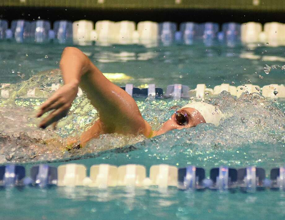 Greenwich's Lillian Clisham in 500 free during Saturday's State Open at Yale. Photo: John Nash / Hearst Connecticut Media