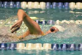 Greenwich's Lillian Clisham in 500 free during Saturday's State Open at Yale.