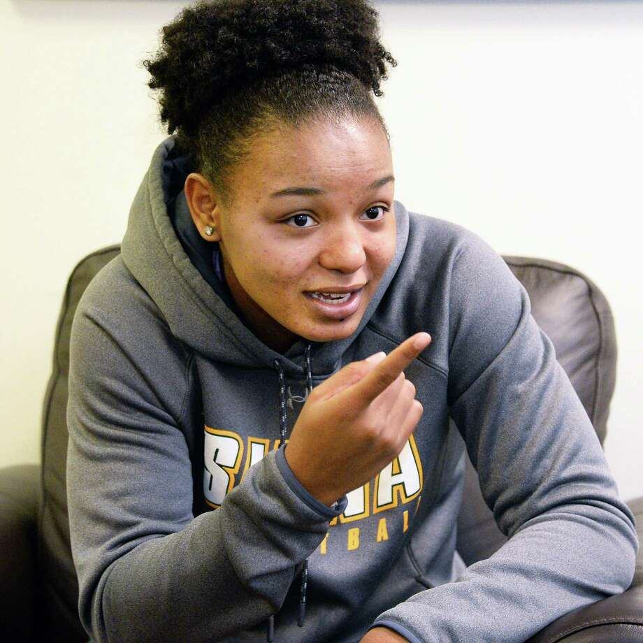 Siena women's basketball player Kollyns Scarbrough during an interview at the college Nov. 14, 2017 in Colonie, NY.  (John Carl D'Annibale / Times Union) Photo: John Carl D'Annibale / 20042127A