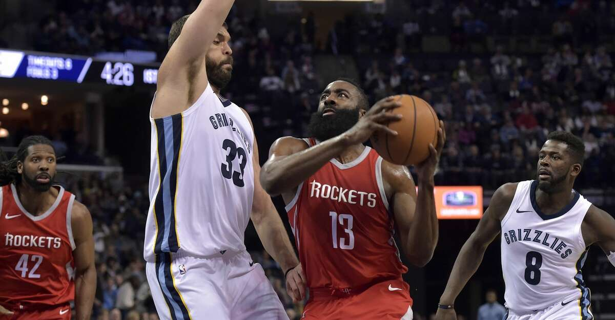 Houston Rockets guard James Harden (13) drives against Memphis Grizzlies center Marc Gasol (33) during the first half of an NBA basketball game Saturday, Nov. 18, 2017, in Memphis, Tenn. (AP Photo/Brandon Dill)