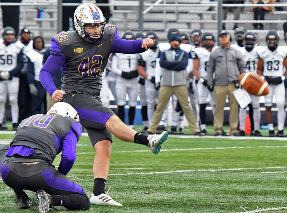 UAlbany's #42 Ethan Stark kicks a field goal during their Colonial Athletic Association game against New Hampshire Saturday Nov. 18, 2017 in Albany, NY.  (John Carl D'Annibale / Times Union) Photo: John Carl D'Annibale / 20041652A