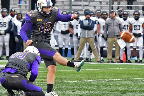 UAlbany's #42 Ethan Stark kicks a field goal during their Colonial Athletic Association game against New Hampshire Saturday Nov. 18, 2017 in Albany, NY.  (John Carl D'Annibale / Times Union)