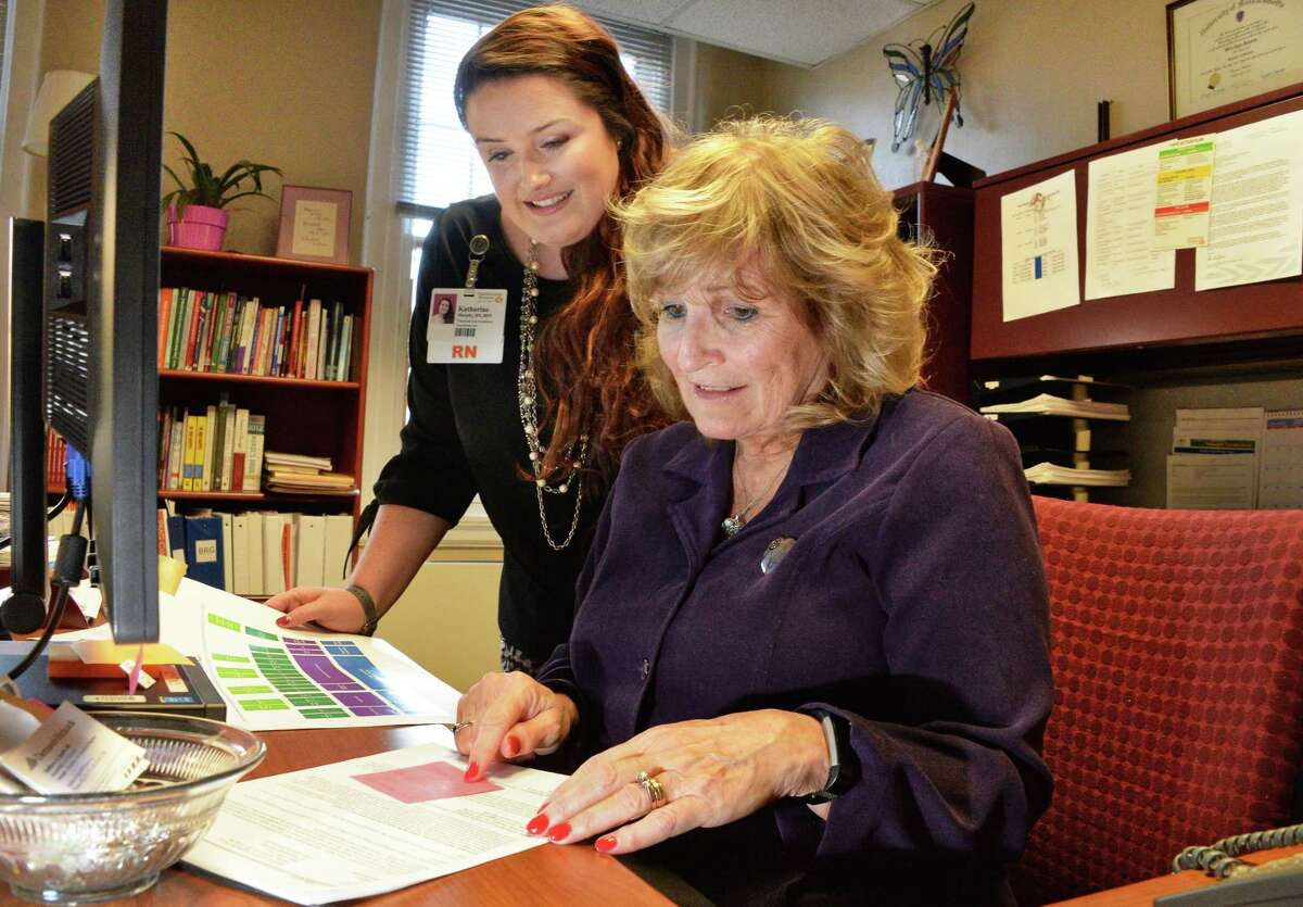 Transitions of care coordinator Katharine Murphy,BSN, RN, left, and administrative director of outpatient services and transitions of care Billie Lynn Allard, MS,RN in Allard's office at Southern Vermont Medical Center Nov. 15, 2017 in Bennington, Vermont. (John Carl D'Annibale / Times Union)