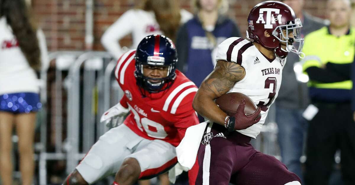 Texas A&M wide receiver Christian Kirk (3) runs past a Mississippi defenderduring the first half of an NCAA college football game in Oxford, Miss., Saturday, Nov. 18, 2017. (AP Photo/Rogelio V. Solis)