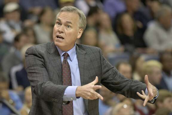 Houston Rockets head coach Mike D'Antoni reacts to a referee's call during the second half of an NBA basketball game against the Memphis Grizzlies on Saturday, Nov. 18, 2017, in Memphis, Tenn. (AP Photo/Brandon Dill)