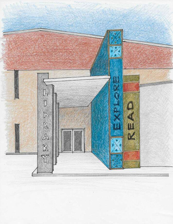 This sketch shows what the front of the renovated Midland County Public Library downtown branch will look like. The entrance will face south, toward the building's parking lot. Photo: Courtesy Rendering