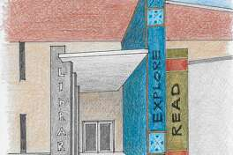This sketch shows what the front of the renovated Midland County Public Library downtown branch will look like. The entrance will face south, toward the building's parking lot.