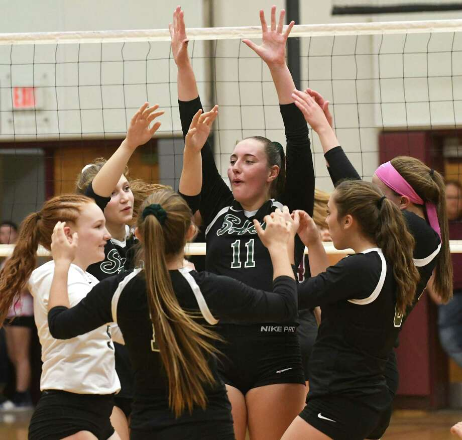 Shenendehowa celebrates after scoring during a volleyball match against Burnt Hills on Wednesday, Oct 18, 2017 in Burnt Hills, N.Y. (Lori Van Buren / Times Union) Photo: Lori Van Buren / 20041868A