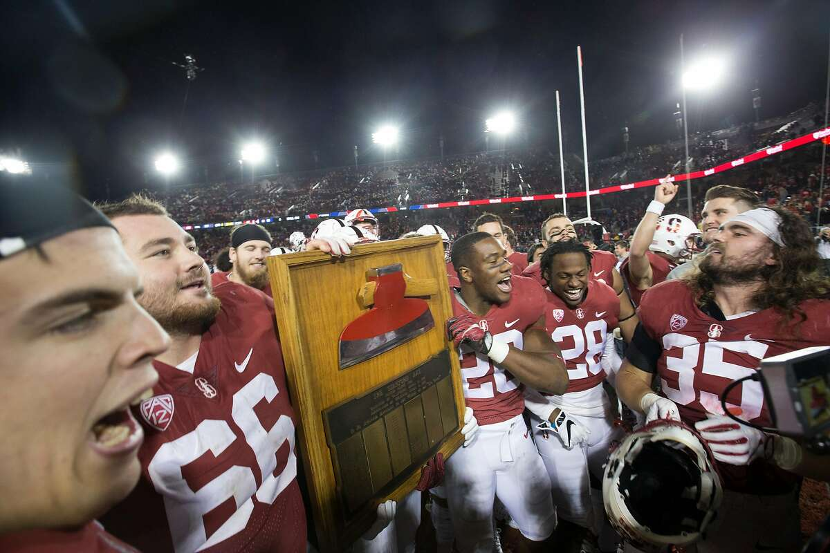 Stanford players hold up The Axe after defeating California in the 120th Big Game, Saturday, Nov. 18, 2017 in Stanford, Calif. Stanford won, 17-14.