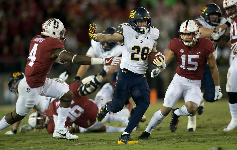 Patrick Laird (28), who rushed for 153 yards and one touchdown, was a highlight of the Big Game for Cal, who have a crucial matchup against UCLA next week. Photo: D. Ross Cameron, Special To The Chronicle