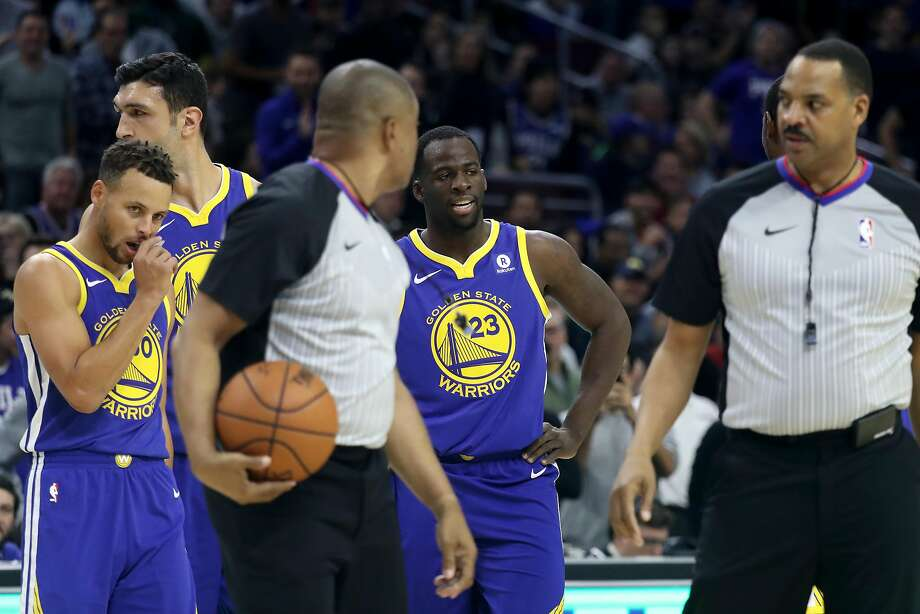 Draymond Green #23 of the Golden State Warriors talks with officials after getting called for a technical foul in the first half against the Philadelphia 76ers at Wells Fargo Center on November 18, 2017 in Philadelphia,Pennsylvania.  Photo: Rob Carr, Getty Images