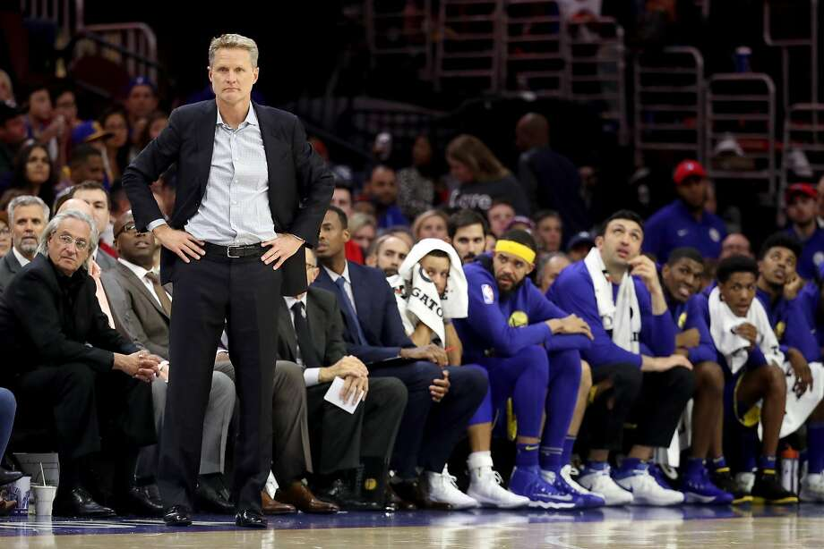 PHILADELPHIA, PA - NOVEMBER 18: Head coach Steve Kerr of the Golden State Warriors looks on against the Philadelphia 76ers in the second half at Wells Fargo Center on November 18, 2017 in Philadelphia,Pennsylvania. NOTE TO USER: User expressly acknowledges and agrees that, by downloading and or using this photograph, User is consenting to the terms and conditions of the Getty Images License Agreement. (Photo by Rob Carr/Getty Images) Photo: Rob Carr, Getty Images