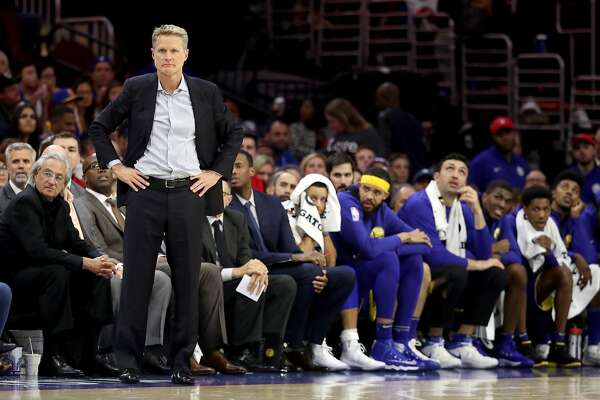 PHILADELPHIA, PA - NOVEMBER 18: Head coach Steve Kerr of the Golden State Warriors looks on against the Philadelphia 76ers in the second half at Wells Fargo Center on November 18, 2017 in Philadelphia,Pennsylvania. NOTE TO USER: User expressly acknowledges and agrees that, by downloading and or using this photograph, User is consenting to the terms and conditions of the Getty Images License Agreement. (Photo by Rob Carr/Getty Images)