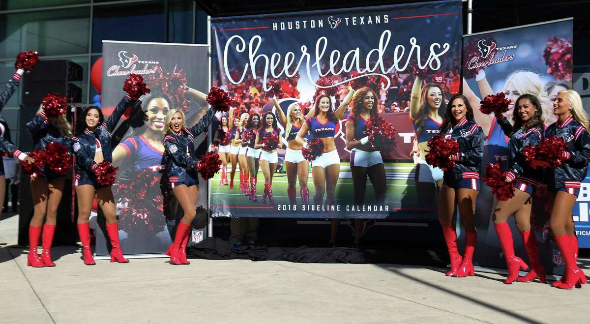 Houston Texans Cheerleasers reveal the 2018 Houston Texans Cheerleaders Sideline Calendar cover at NRG Stadium on Sunday, Nov. 19, 2017, in Houston.
