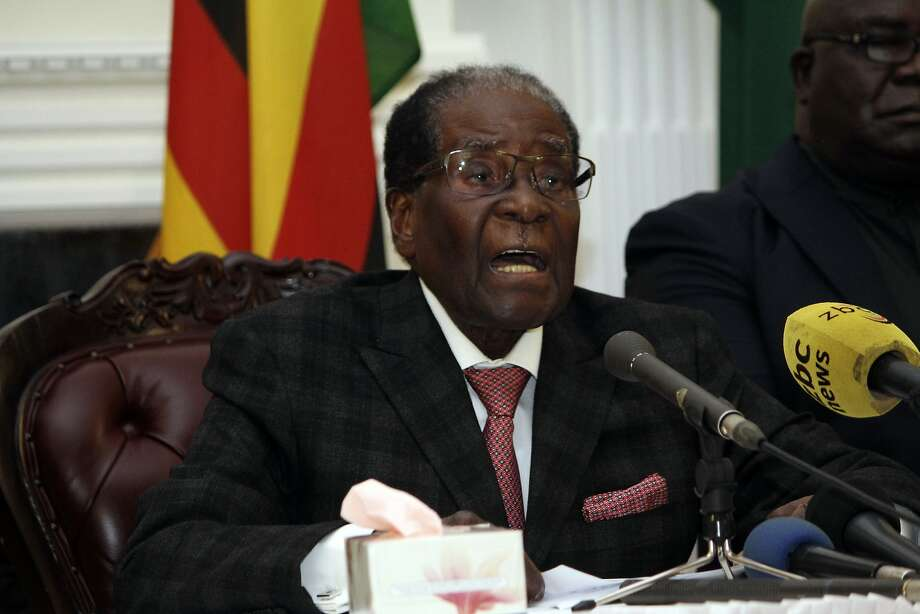 Zimbabwean President Robert Mugabe delivers his speech during a live broadcast at State House in Harare, Sunday, Nov, 19, 2017. Zimbabwe's President Robert Mugabe has baffled the country by ending his address on national television without announcing his resignation. (AP Photo) Photo: Associated Press