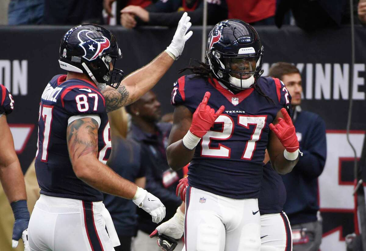 PHOTOS: All the free stuff you get because the Texans won Houston Texans running back D'Onta Foreman (27) celebrates with teammates after a touchdown run during the second half of an NFL football game against the Arizona Cardinals, Sunday, Nov. 19, 2017, in Houston. Browse through the photos above to see all the free stuff you can get because the Texans won Sunday.