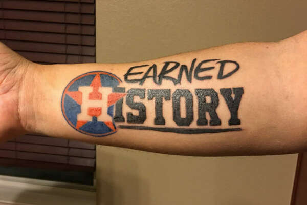 "Following the Astros' first-ever World Series Championship win, fans dedicated the win with honorary tattoos. Tim Craft got this on his forearm as a symbol ""for what they've meant to me, my family, and this city."""