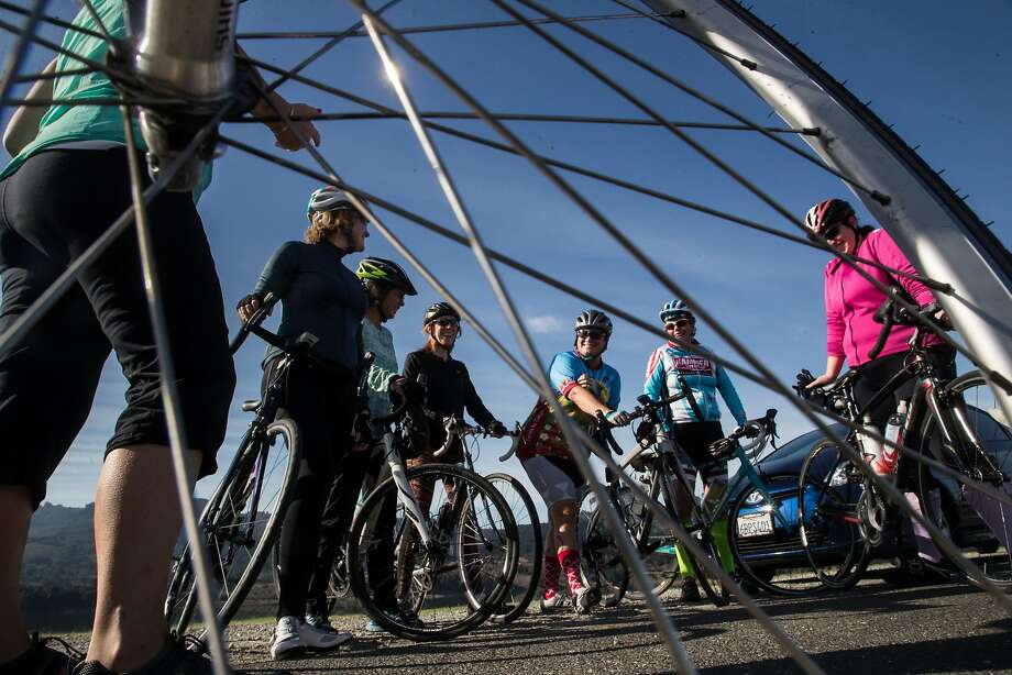 Renee Eckert (left), Kristen Lee, Kathryn Morton, Molly Wolfe, Julie Fuller, Liz Sullivan and Elizabeth Schweinsberg are members of the Velo Girls, a bicycle club that regularly participates in Bicycle Sunday. Photo: Paul Kuroda, Special To The Chronicle