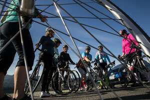 "From left:  Renee Eckeckert, Kristen Lee, Kathryn Morton, Molly Wolfe, Julie Fuller and Elizabeth Schweinsberg of the ""Velo Girls,"" a bicycle club which regularly participates in Bicycle Sunday at San Mateo County at Ca�ada Road adjacent to Crystal Springs Reservoir where roads are cleared to cars between the Filoli entrance and Highway 92, on Sunday, Nov. 19, 2017 in Belmont, CA."