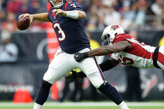 Houston Texans quarterback Tom Savage (3) gets pressure from Arizona Cardinals outside linebacker Chandler Jones (55) during the fourth quarter of an NFL football game at NRG Stadium,  Sunday, Nov. 19, 2017, in Houston.