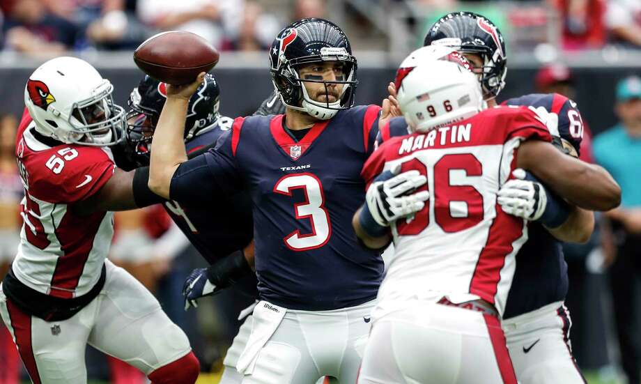 Houston Texans quarterback Tom Savage (3) throws a pass as he is pressured by Arizona Cardinals outside linebacker Chandler Jones (55) during the first quarter of an NFL football game at NRG Stadium on Sunday, Nov. 19, 2017, in Houston. Photo: Brett Coomer, Houston Chronicle / © 2017 Houston Chronicle