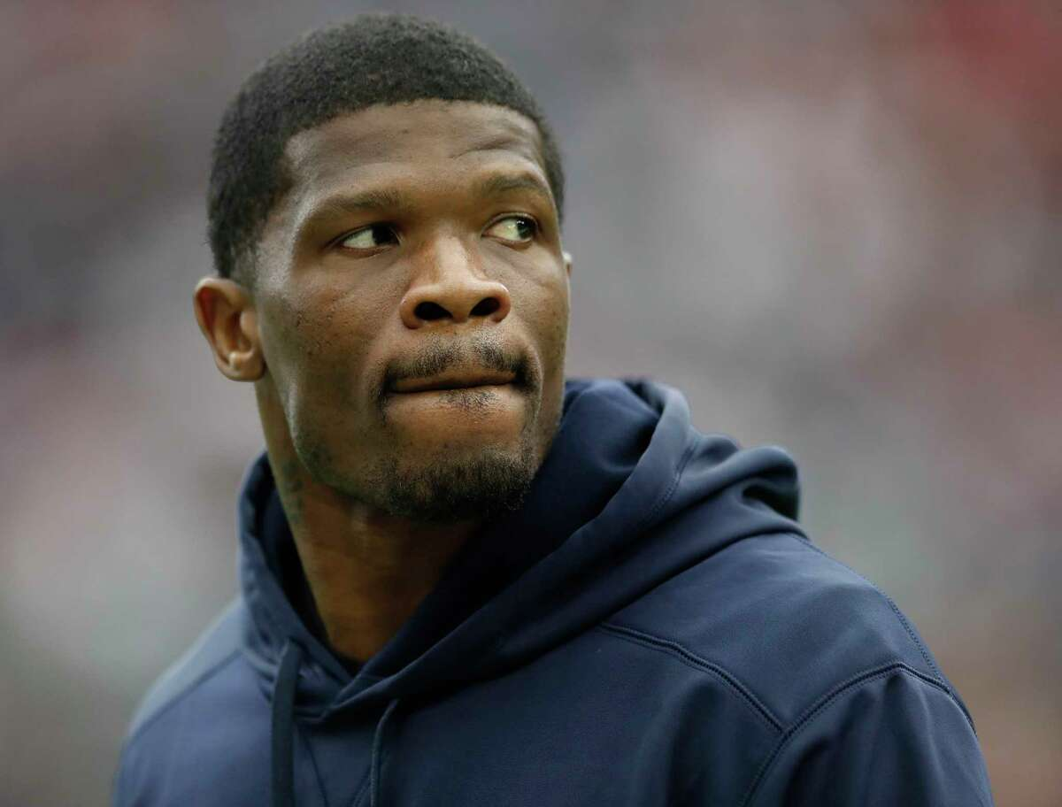 Andre Johnson during the first quarter of an NFL football game at NRG Stadium, Sunday, Nov. 19, 2017, in Houston.
