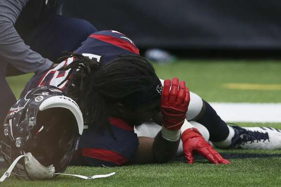 Houston Texans running back D'Onta Foreman (27) is injured after scoring a touch down during the fourth quarter of a NFL game at NRG Stadium on Sunday, Nov. 19, 2017, in Houston. The Houston Texans defeated the Arizona Cardinals 31-21. ( Yi-Chin Lee / Houston Chronicle )