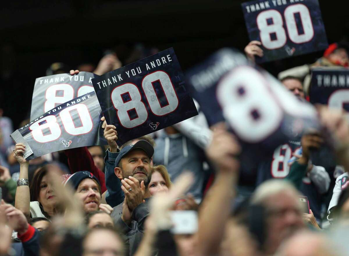 Houston Texans fans cheer for former Texan and Texans Ring of Honor inductee Andre Johnson during the opening of the NFL game against Arizona Cardinals at NRG Stadium on Sunday, Nov. 19, 2017, in Houston. ( Yi-Chin Lee / Houston Chronicle )