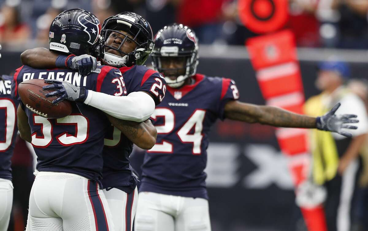 Houston Texans free safety Andre Hal (29) embraces defensive back Eddie Pleasant (35) as they celebrate Hal's interception of a pass by Arizona Cardinals quarterback Blaine Gabbert during the fourth quarter of an NFL game at NRG Stadium on Sunday, Nov. 19, 2017, in Houston. ( Brett Coomer / Houston Chronicle ) To see where the Texans rank and the rest of the General's NFL power rankings for Week 12, browse through the slideshow.